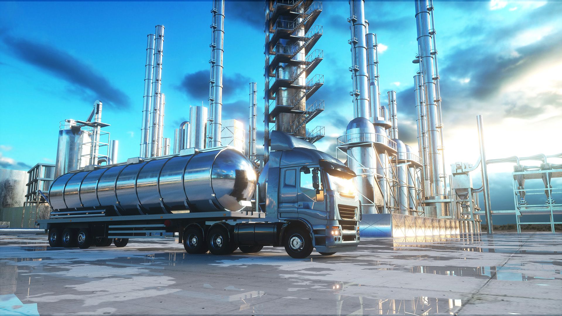 petrol truck near oil, petrol plant. 3d rendering